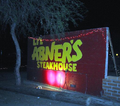 Li'l Abner's Steakhouse: The front sign of Li'l Abner's