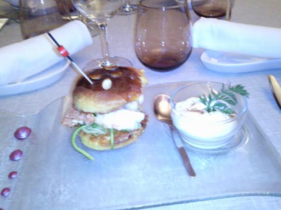Les Saveurs de l'Abbaye : pain perdu,langoustine, filaments de courgette à la menthe