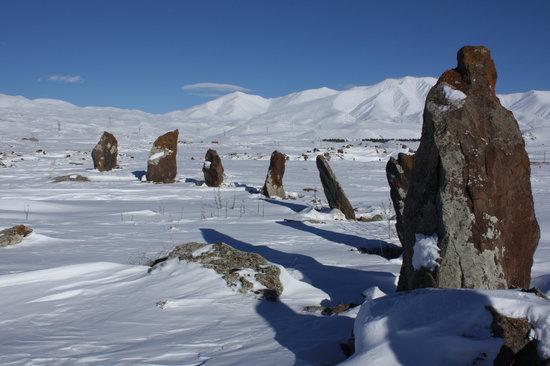 Karahundj (Armenia's Stonehenge) : Zorats Karer (Carahunge) in winter - Jan 2009