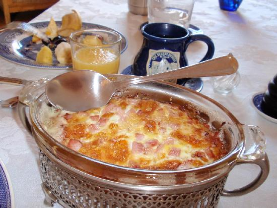 The Ellery House: ham/egg souffle for breakfast served in vintage casserole dishes.