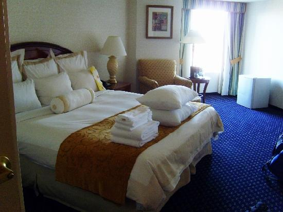 Boston Marriott Quincy: Room 833, Bed & area. My request of extra pillows and towels fulfilled and sitting on the bed al