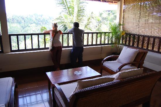 Villa Indah Ubud: own private balcony overlooking gorge
