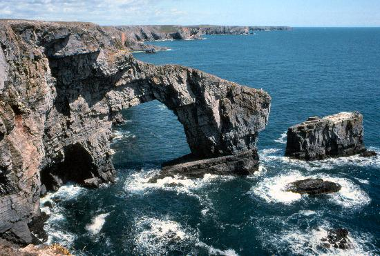 "Pembrokeshire, UK: The ""Green Bridge of Wales"" at St Govans Head"