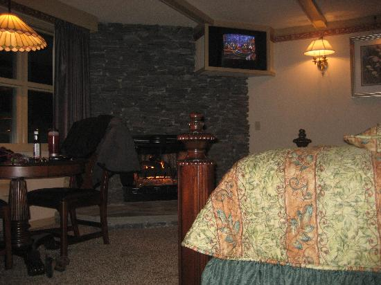 Riverhouse at the Park: The gas fireplace view from the jacuzzi