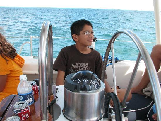 Key West Sailing Adventure: Alex helping steer