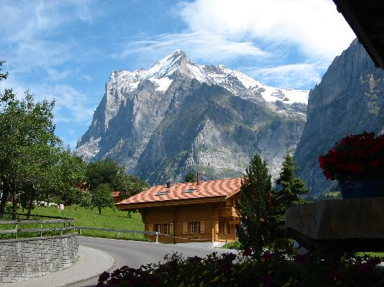 Hotel Restaurant Glacier: View from the entrance towards the Grindelwald mountain, Wetterhorn (3701 m)