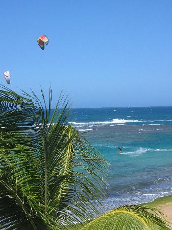 Villa Tropical Oceanfront Apartments on Shacks Beach: Kite surfers