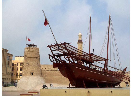 A dhow and the Al-Fahidi Fort housing the Dubai Museum (19271772)