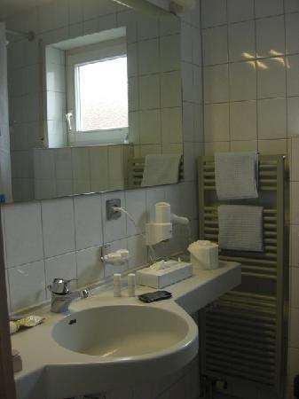 Gästehaus am Wasserschloss: Bathroom was small but clean and modern
