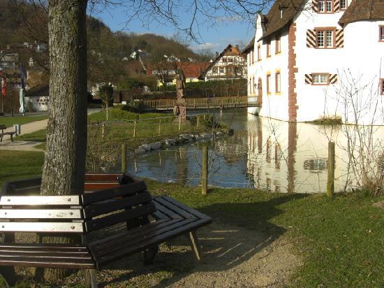 Gaestehaus am Wasserschloss: The parc outside and bridge to restaurant