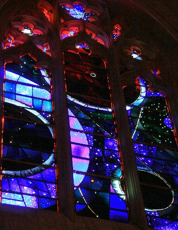 Washington National Cathedral : National Cathedral - stained glass window with moon rock