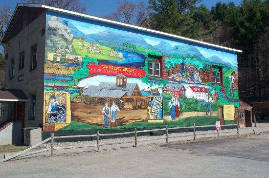 Warrensburg, NY: Mural depicts the town's history, by Eva Cockcroft in 1976 , restored by Mary Lovendusky in 2007