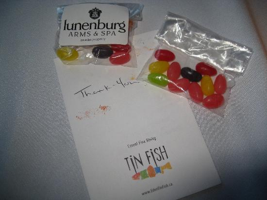 Tin Fish Dining Room: envelope holding receipt and jelly beans!