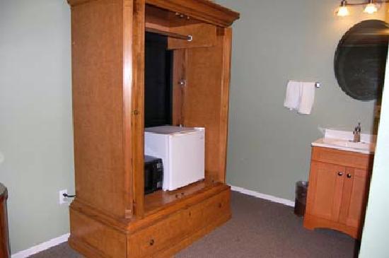 The Atomic Inn: Small fridge, microwave, vanity sink
