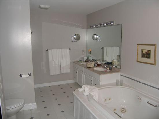 Stone Hill Inn : Bathroom with Jacuzzi bath and fireplace