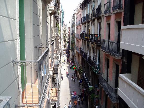 Las Ramblas Apartments I: View of Las Ramblas from our room.