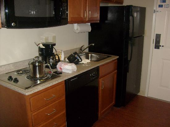 Candlewood Suites Memphis : Kitchen area -- don't mind our mess!