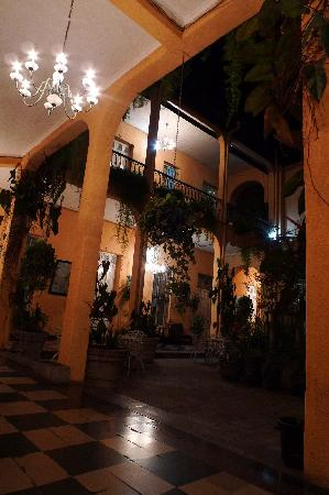Hotel Spring's courtyard at night.