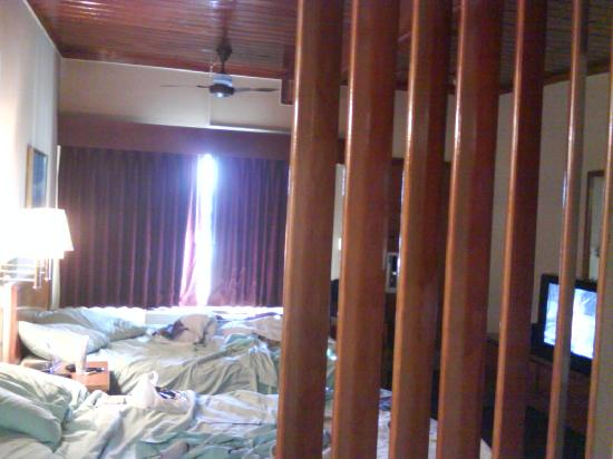 Days Inn Port Huron: A view of the 2 beds from the microwave area.