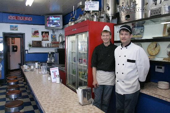 Park Cafe: proud owners inside
