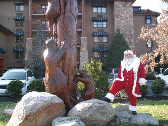 Colonel Santa in front of the Bearskin Lodge