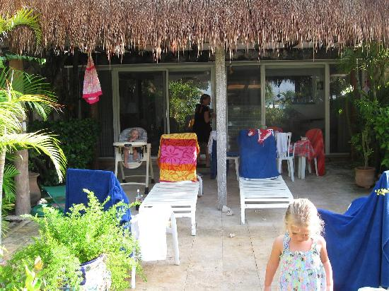 Las Casitas Akumal: Back patio on our casita (well used!)
