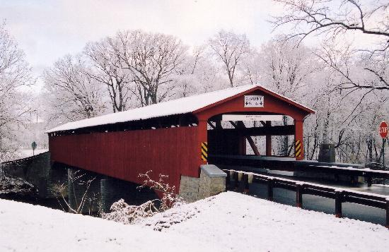 Bloomsburg, Pensylwania: Rupert Covered Bridge in the Winter