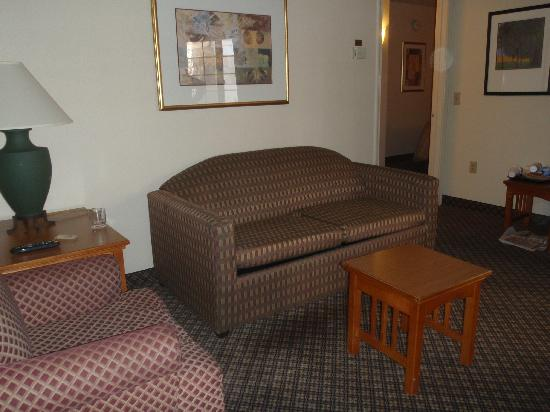 Staybridge Suites Allentown Bethlehem Airport: Living/TV area with dining table across the room