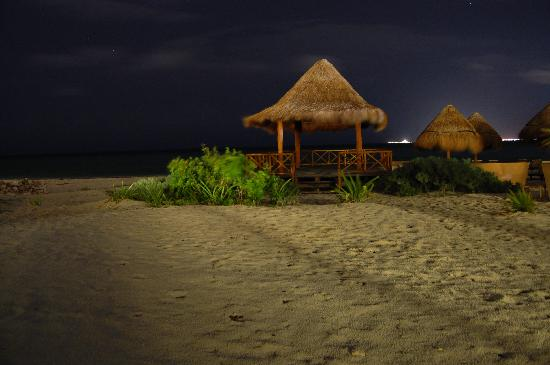 Beloved Playa Mujeres: The beach at night...Isla Mujeres in the background