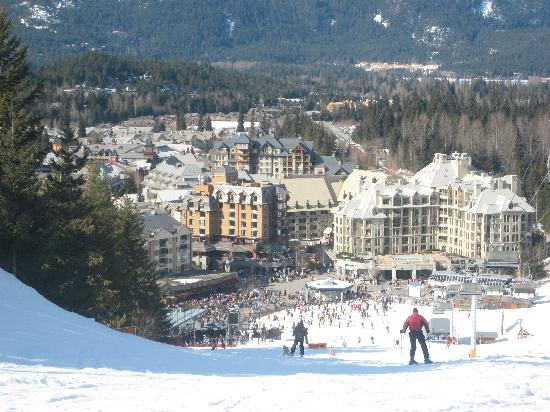 Sundial Boutique Hotel : View from Blackcomb - Sundial is brown building to the left of centre