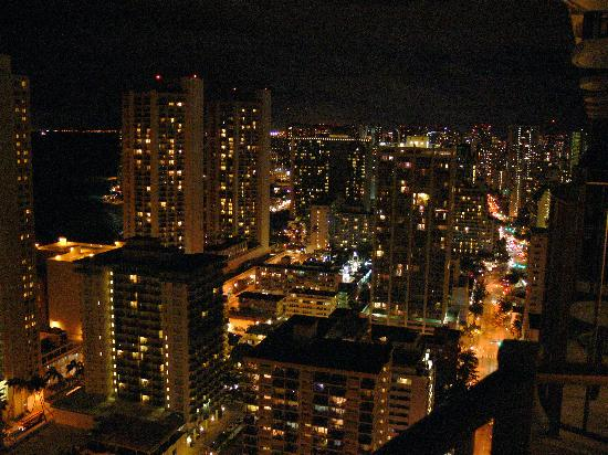 Unzoomed view from 1818 picture of hilton waikiki beach for Balcony at night