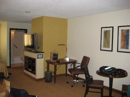 Hyatt Place Greenville/Haywood: tv/desk aera