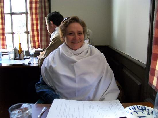 Christiana Campbell's Tavern-Colonial Williamsburg: A yard of napkin to protect our clothes!
