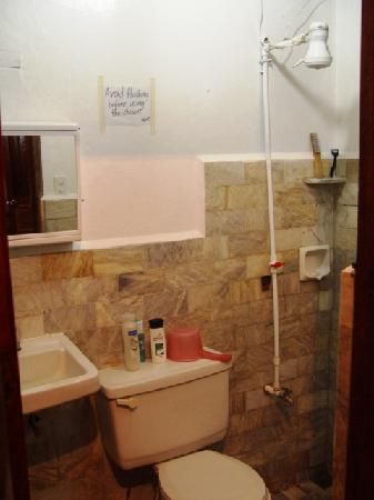 Frendz Resort Boracay : Clean, marble-lined bathroom with warm and cool water shower.