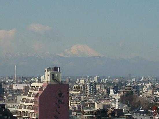 Shinjuku New City Hotel: Mt. Fuji, from the hallway window of the 14th floor at New City Hotel