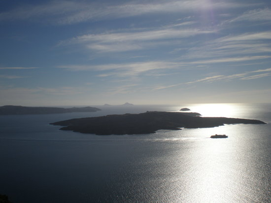 Greece: santorini-vista paniramica de la isla volcanica.