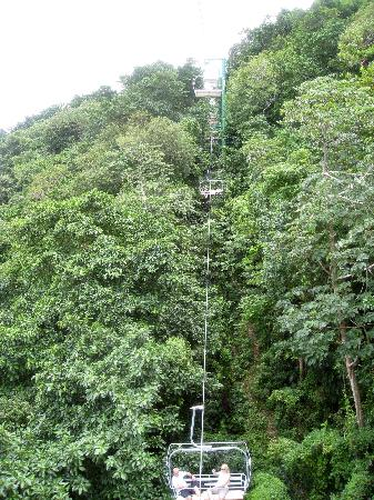 Rainforest Bobsled Jamaica at Mystic Mountain : Mystic Mountain - view of chairlift halfway up