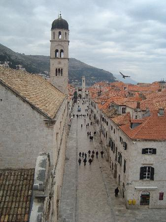 Stradun Apartments : View from atop Pile Gate -- Apts are in the building straight across the Stradun from the Bell T