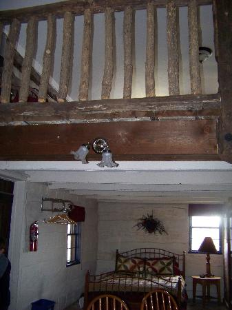 Log Cabin Guest House: view from under the loft