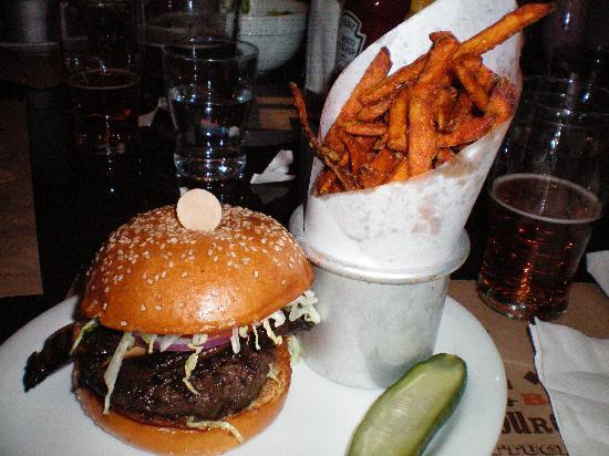 BLT Burger: American Kobe Beef Burger w/Portobella Mushroom ($18.50); Sweet Potato Fries ($5)
