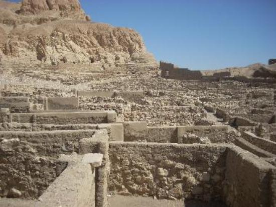 Deir al-Medina was inhabited by the artisans, carvers, painters, and laborers who worked on the royal tombs.