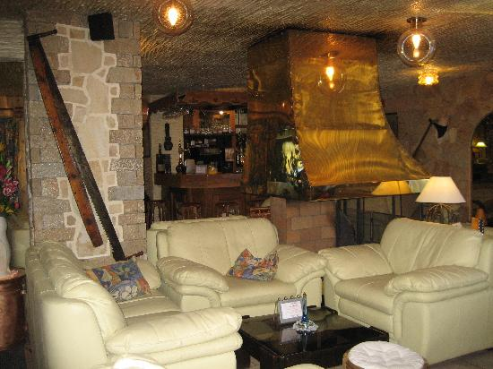 Les Ancolies Hotel : Lounge area and log fire