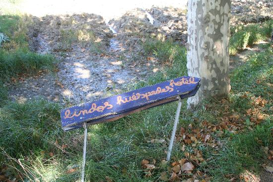 """Lindos Huespedes : The """"sign"""" on the side of the road that we couldn't see in the dark."""