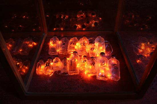 Lindos Huespedes : holiday lights in bottles in an aquarium
