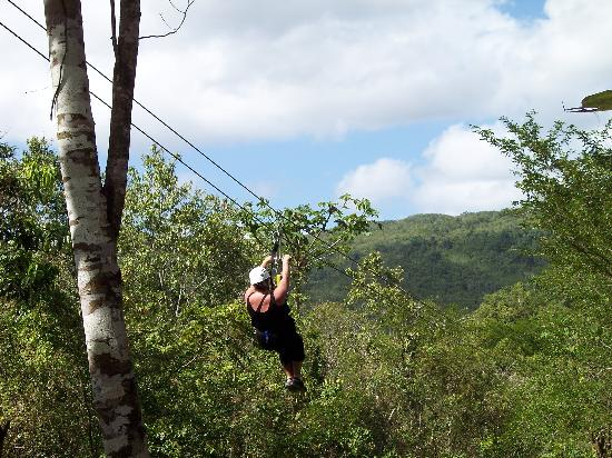 Iberostar Grand Hotel Rose Hall: A person zip-lining in our group