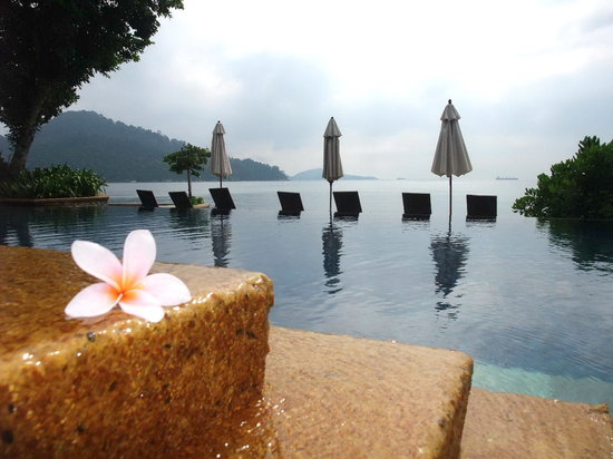 Pangkor Laut Resort: Flower on the poolside, Spa Village