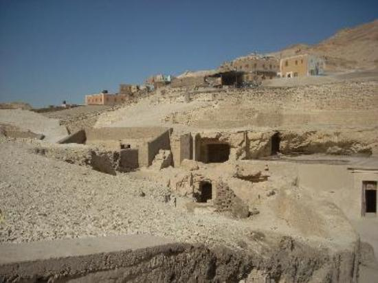 The Valley of the Nobles consists of tombs of officials that are excavated between homes of a village