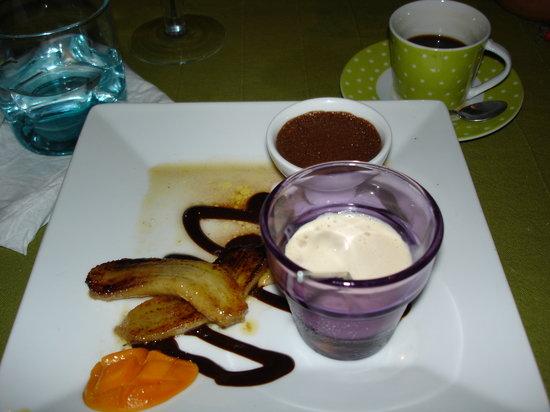 Lolo Lorena: Chocolate Mousse, Chantilly Creme, Bananas Flambe and Baby Mango
