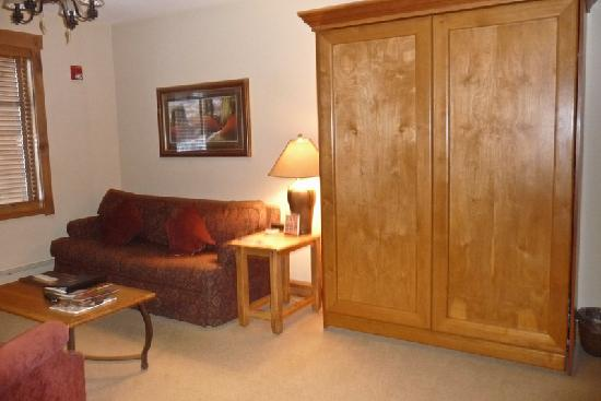 Mountain Thunder Lodge: Living room with murphy bed up