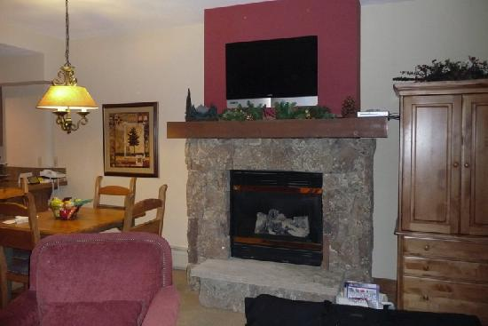 Mountain Thunder Lodge: Fireplace and flat screen TV